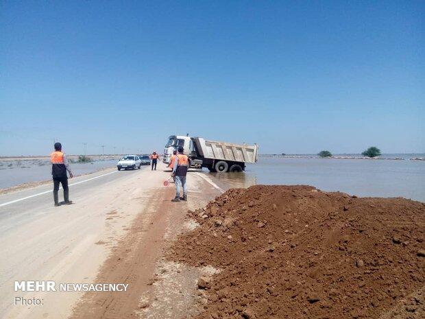 بخشهایی از جاده خرمشهر - اهواز به زیر آب رفت